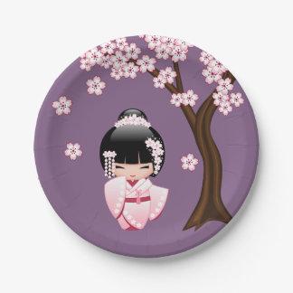 White Kimono Kokeshi Doll - Cute Geisha Girl 7 Inch Paper Plate