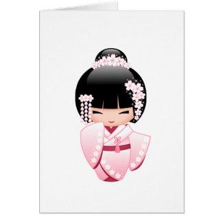 White Kimono Kokeshi Doll - Cute Geisha Girl Card