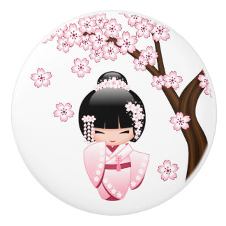 White Kimono Kokeshi Doll - Cute Geisha Girl Ceramic Knob