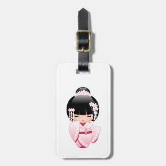 White Kimono Kokeshi Doll - Cute Geisha Girl Luggage Tag