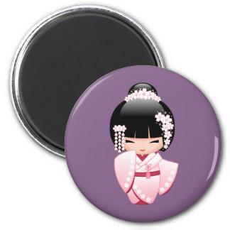 White Kimono Kokeshi Doll - Cute Geisha Girl Magnet
