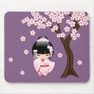 White Kimono Kokeshi Doll - Japanese Geisha Girl Mouse Pad