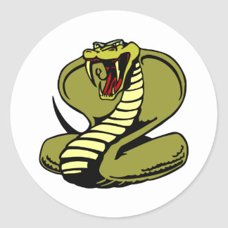 White King Cobra Round Sticker