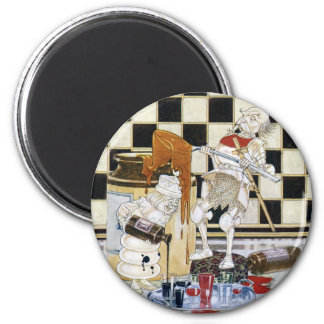 White King & White Knight Dish Up Treacle & Ink 2 Inch Round Magnet