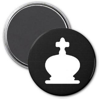 White King - Zero Gravity Chess (Black Bg) 3 Inch Round Magnet