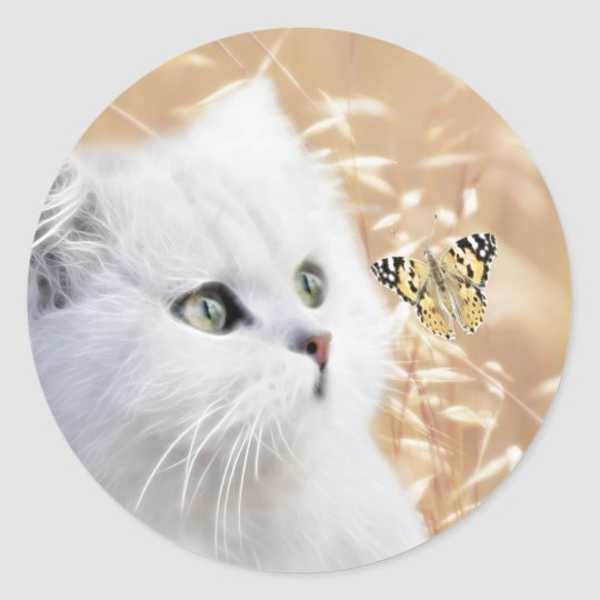 White kitten and butterfly classic round sticker