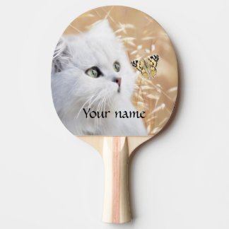 White kitten and butterfly ping pong paddle