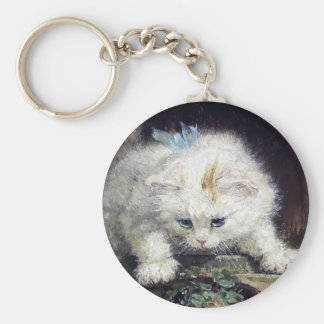 White Kitten Cat Pet Cute Animal Antique painting Keychain