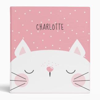 White Kitten - Name - Pink Vinyl Binders