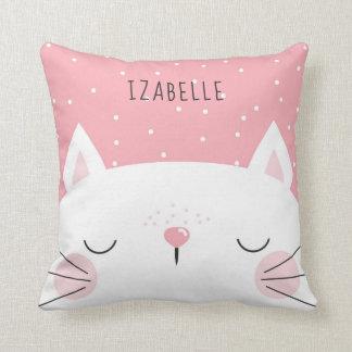 White Kitten - Nursery Decor - Name Throw Pillow