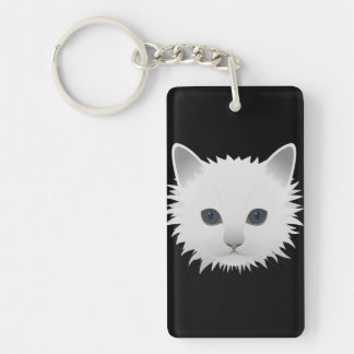 White kitty blue eyes keychain