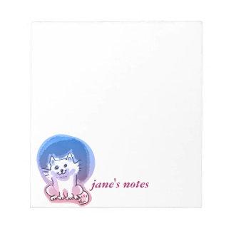 white kitty cartoon style illustration notepad