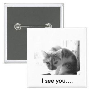 White Kitty Cat/Black & White Photo Pin