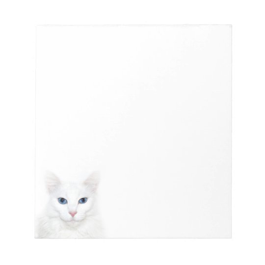 White kitty face notepad