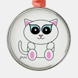 White Kitty Metal Ornament