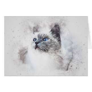 White Kitty Portrait | Abstract | Watercolor Card