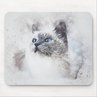 White Kitty Portrait | Abstract | Watercolor Mouse Pad