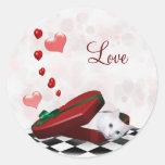 White kitty Valentine Classic Round Sticker
