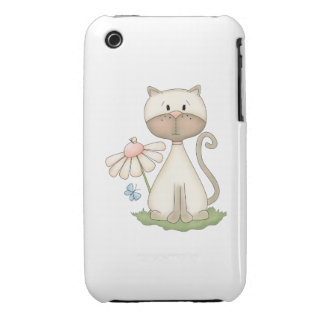 White Kitty w/ Flower iPhone 3 Covers