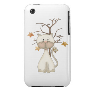 White Kitty w/ Tree iPhone 3 Covers