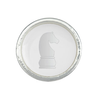 White Knight Chess piece Rings