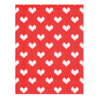 White Knit Hearts Pattern on Red Love Postcard