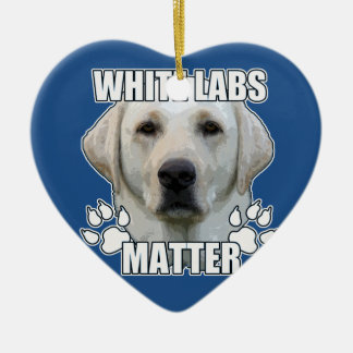 White labs matter ceramic heart ornament
