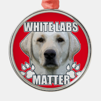 White labs matter Silver-Colored round ornament