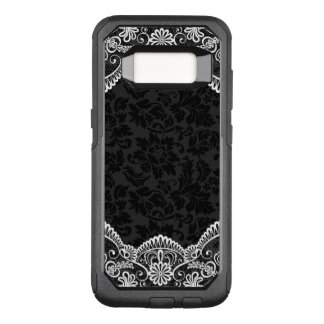 White Lace And Black Damask OtterBox Commuter Samsung Galaxy S8 Case
