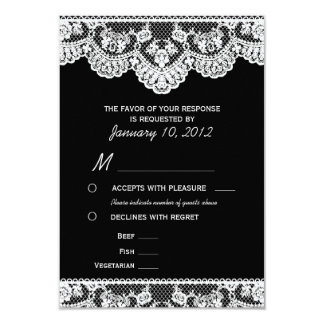 """White Lace and Black RSVP with Meal Options 3.5"""" X 5"""" Invitation Card"""
