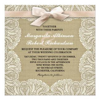 White lace and burlap wedding invitations