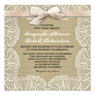 White lace and burlap wedding invitations