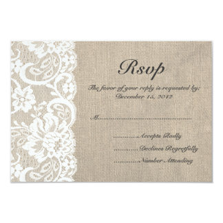 White Lace and Burlap Wedding RSVP Card