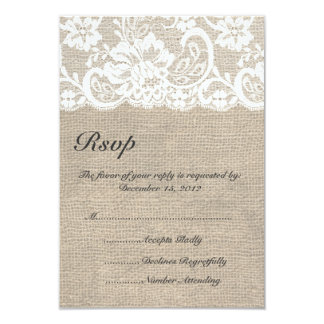 """White Lace and Burlap Wedding RSVP Card 3.5"""" X 5"""" Invitation Card"""