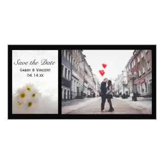 White Lace and Daisies Wedding Save the Date Card