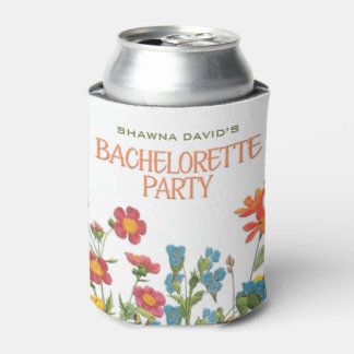 White Lace and Floral #1 Bachelorette Party Can Cooler