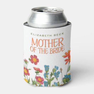 White Lace and Floral #1 Mother of the Bride Can Cooler
