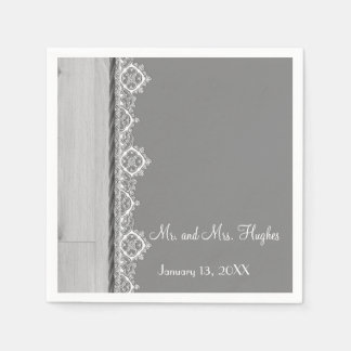 White lace and grey wedding floral wedding napkin