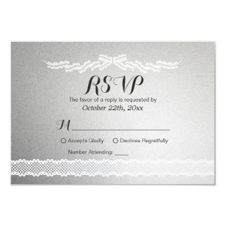 White Lace and Silver Background Wedding RSVP Card