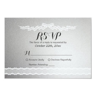 """White Lace and Silver Background Wedding RSVP Card 3.5"""" X 5"""" Invitation Card"""