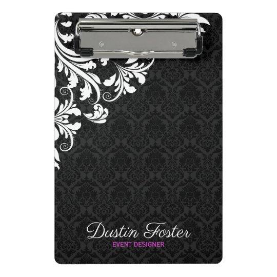 White Lace Black Damasks Mini Clipboard