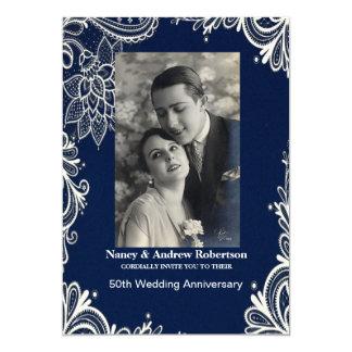 white lace blue nautical 50th wedding anniversary card