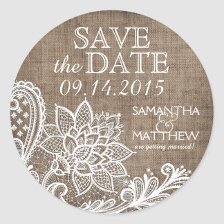 White Lace Burlap Modern Goth Save the Date Label