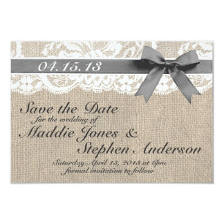 """White Lace & Burlap Wedding Save the Date 3.5"""" X 5"""" Invitation Card"""