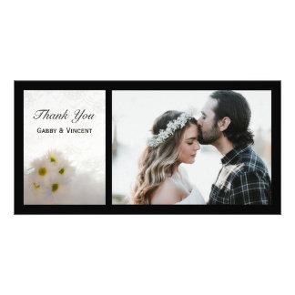 White Lace Daisies Wedding Thank You Photo Card