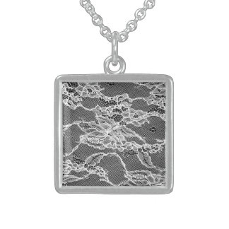 white lace, feminin, marriage, wedding, flower sterling silver necklace