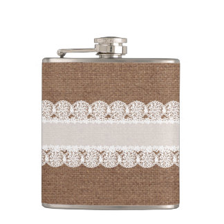 White Lace Flower Ribbon on Burlap - Shabby Chic Hip Flask