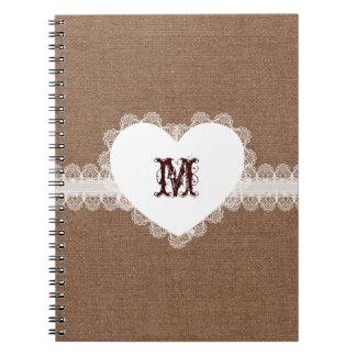 White Lace Heart Monogram on Burlap - Shabby Chic Notebook