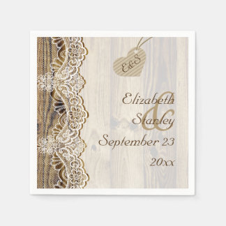 White lace & heart on wood rustic wedding paper napkin
