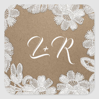 White Lace | Kraft Paper Monogram Wedding Stickers